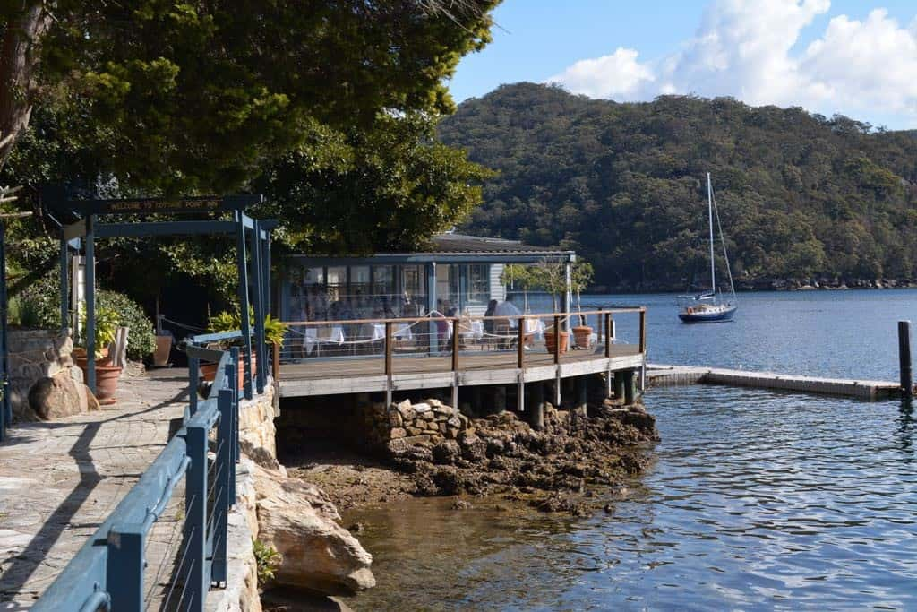 Dining right by the water in a very secluded spot: Cottage Point in can only be reached by car, boat or seaplane.