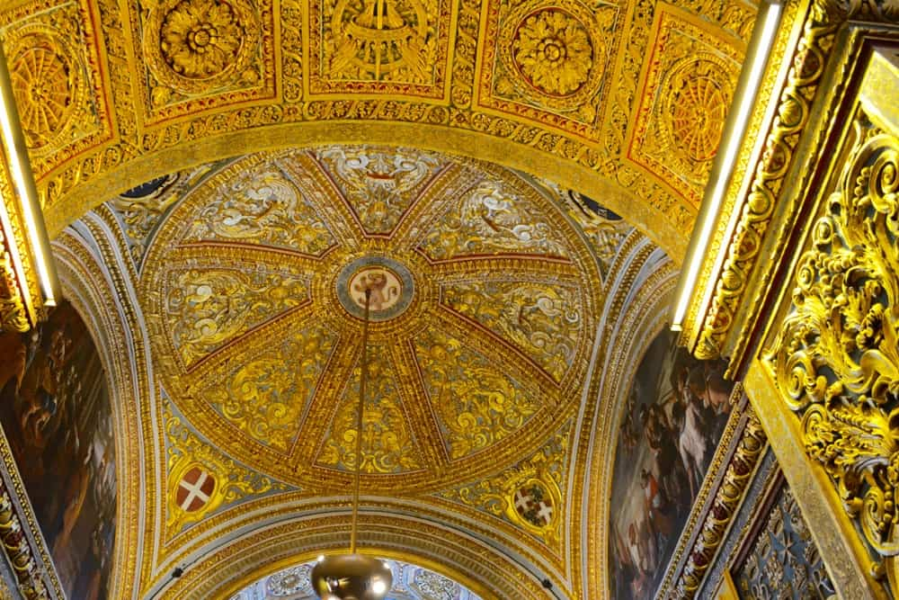 The domed ceiling in gold