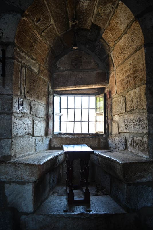 Deep window seat in the English tower