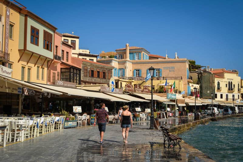 The Venetian Harbour is lined with fish restaurants. The perfect place to relax.