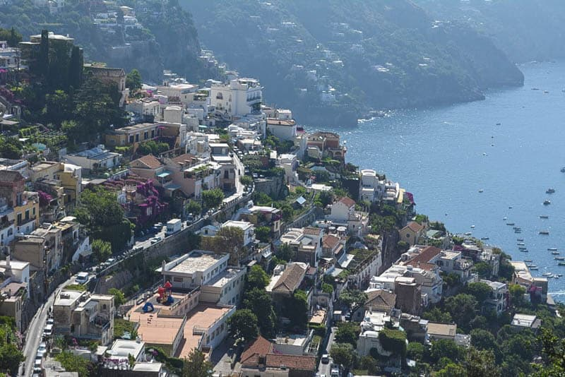Our first glimpse of Positano revealed the challenges motorists and pedestrians face every day. Since we were stuck in a massive traffic jam, we had plenty of time to study the scene.