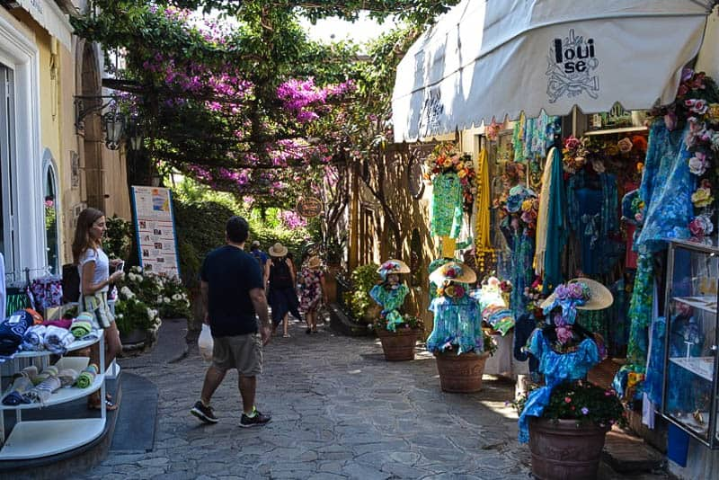 There is a lot of charm and romance in Positano's streets. The wisteria canopies in particular provide precious shade and an intoxicating natural perfume.