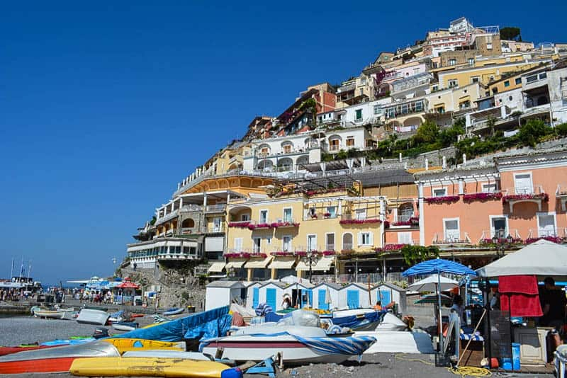 Colourful houses overlooking the beach in Positano - picture perfect.