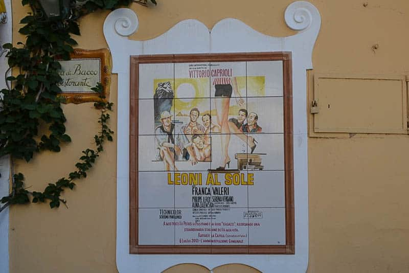 This vintage Italian movie poster printed on tiles reminds of great Italian movies from the 60s which made Positano popular with artists and film stars.