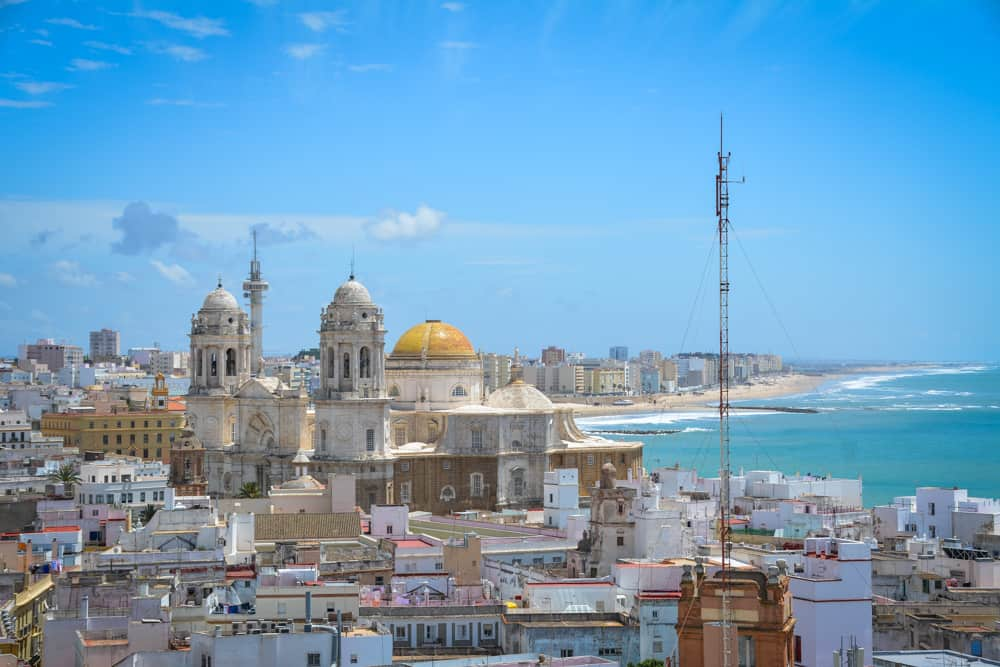Views of Cadiz from the Tavira Tower. There are around a hundred towers in the city, all built by merchants who were eagerly awaiting their fleet's return from South America.