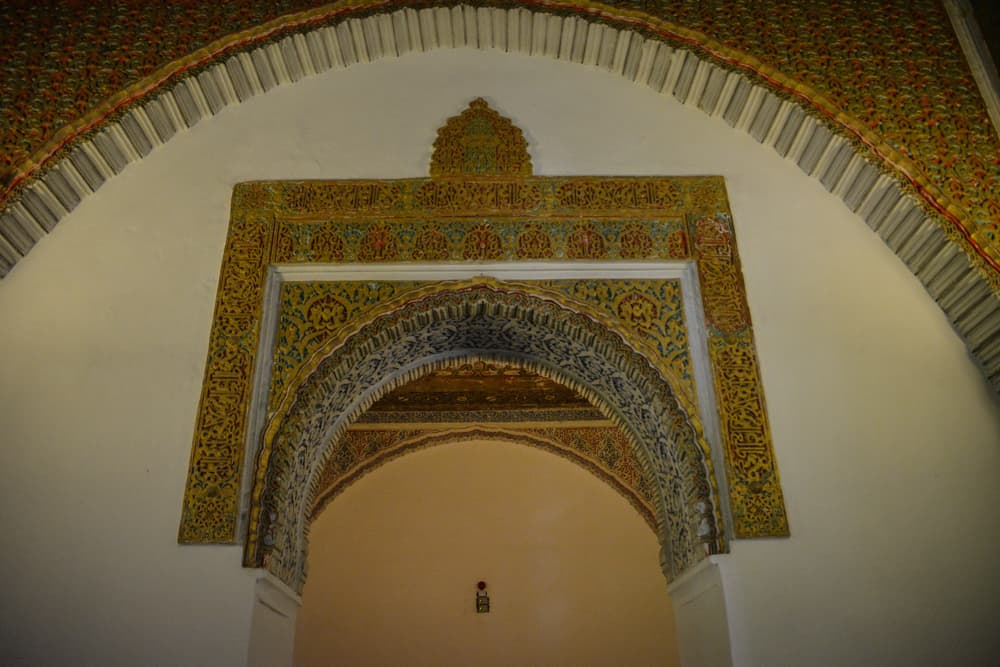 The ornate architecture is borrowed from Arab influences.