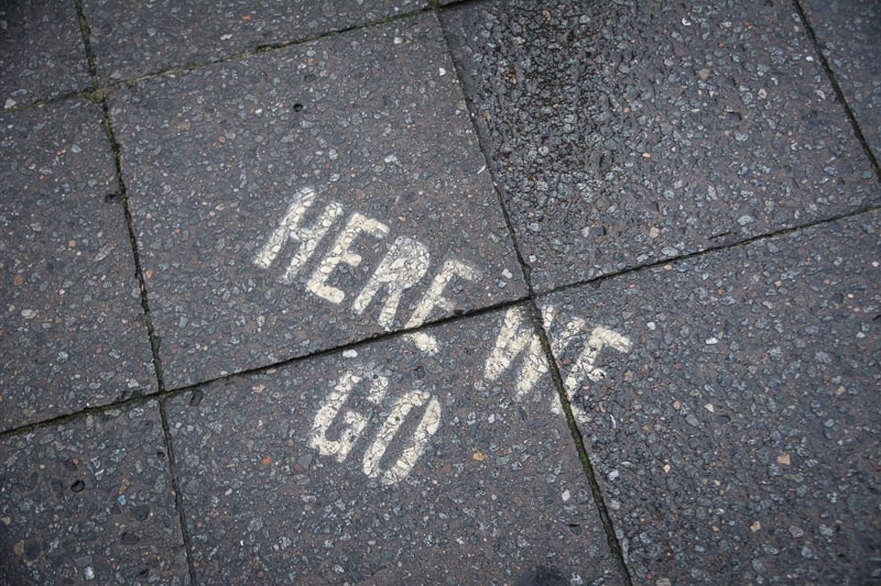 Encouraging words on the pavement as we found our way to the museum in Berlin Schöneberg.