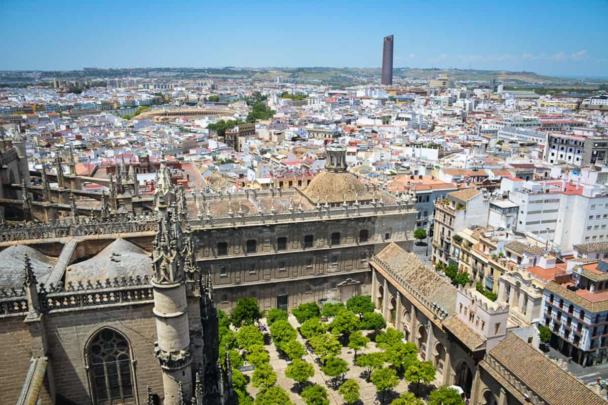 Views from the Giralda in Seville. You can clearly see the Orange Tree Courtyard which used to be part of the mosque that the cathedral replaced after the Reconquista. Did you know that the Giralda does not have any stairs? You walk up a ramp to get to the top!