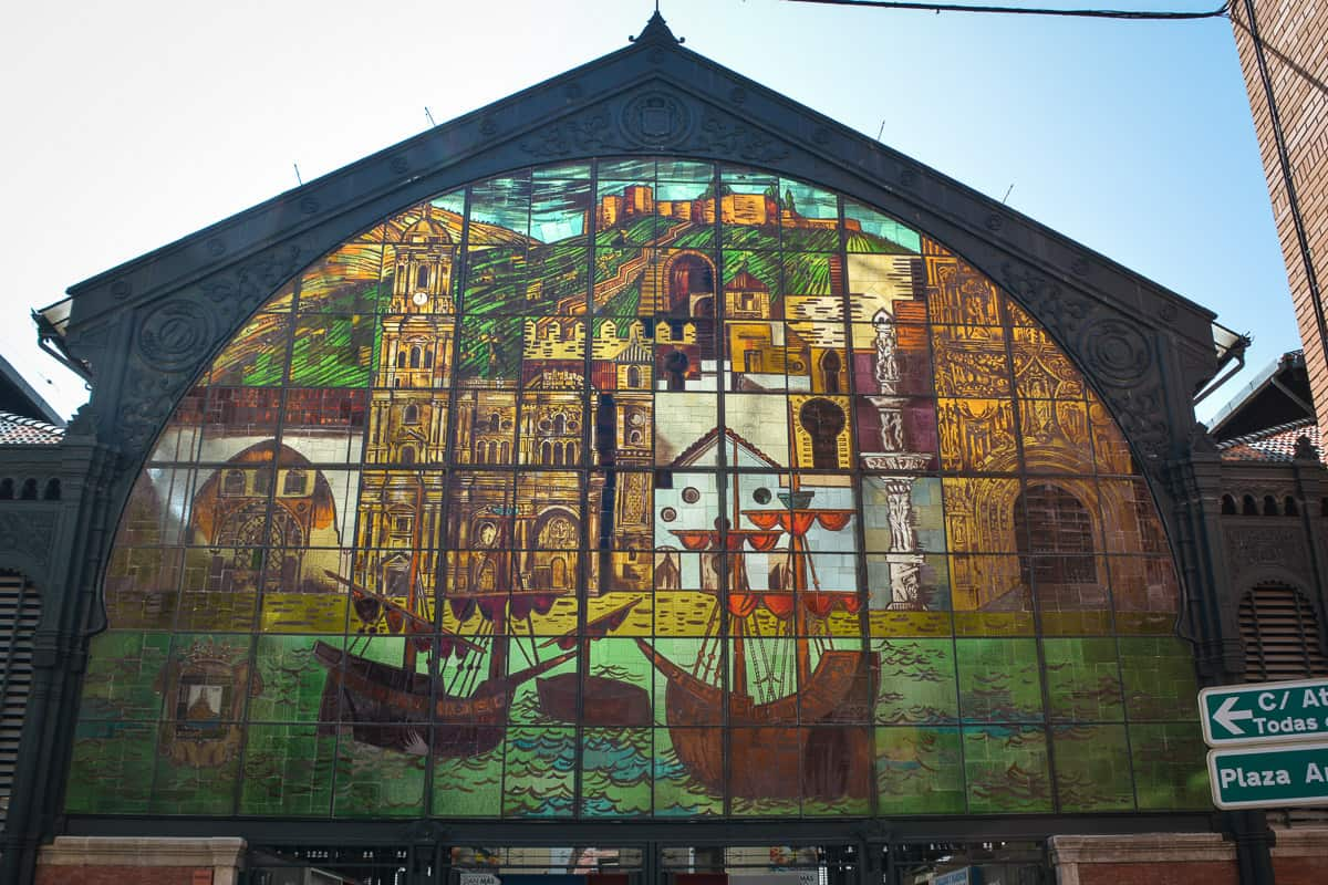 The pretty stained glass windows tell proudly of Malaga's seafaring history.