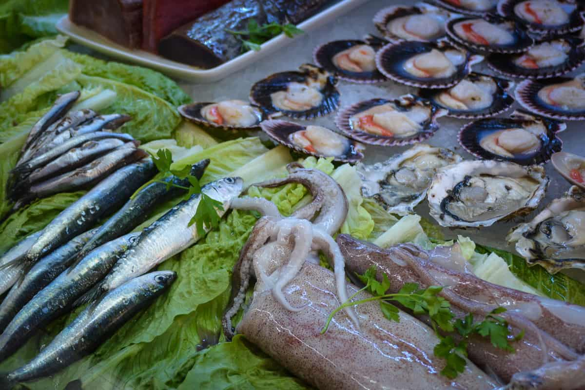 Seafood and fish can be bought fresh or from one of the food stalls where it is prepared fresh to your liking.
