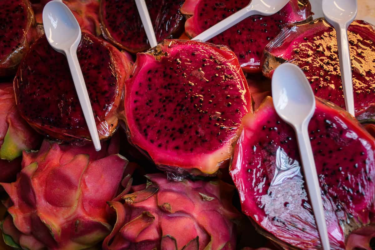 This dragon fruit is sold with a spoon. The Markets in Malaga are great if you want to snack on new foods.