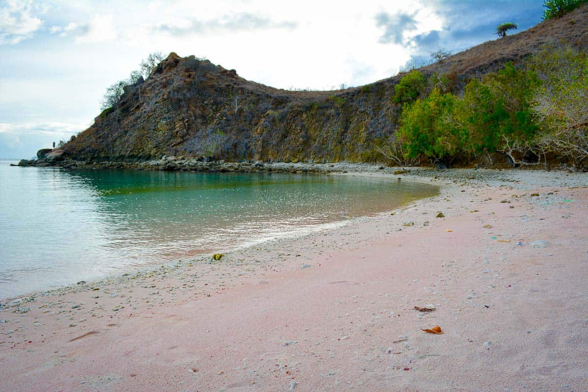 Pink beach in Komodo National Park is not blindingly pink but you can easily make out the reddish hue of the coral.