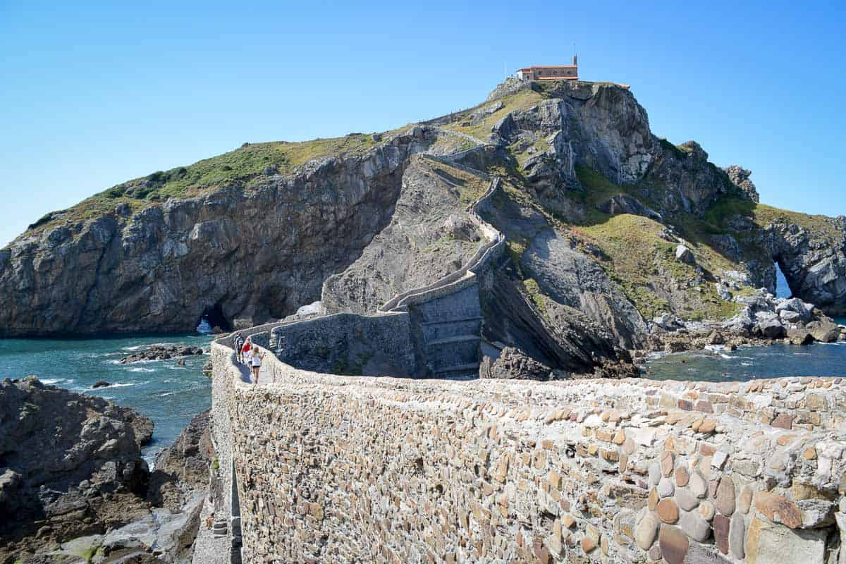 San Juan de Gaztelugatxe is a small chapel on a rocky outcrop which is connected to the mainland by a spectacular set of stairs.