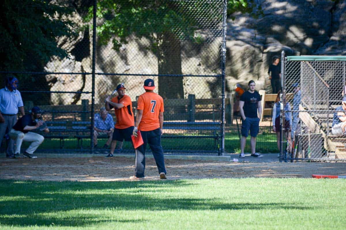 So American: Hobby baseball players enjoying a game in Central Park.