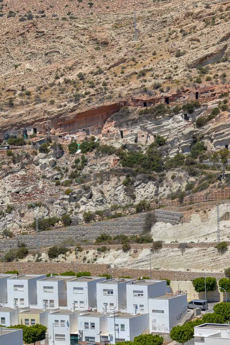 The caves houses near Cueva de la Paloma in Almeria can be clearly seen from above. The story goes that the last Moors hid their treasure in the natural caves after fleeing the city.