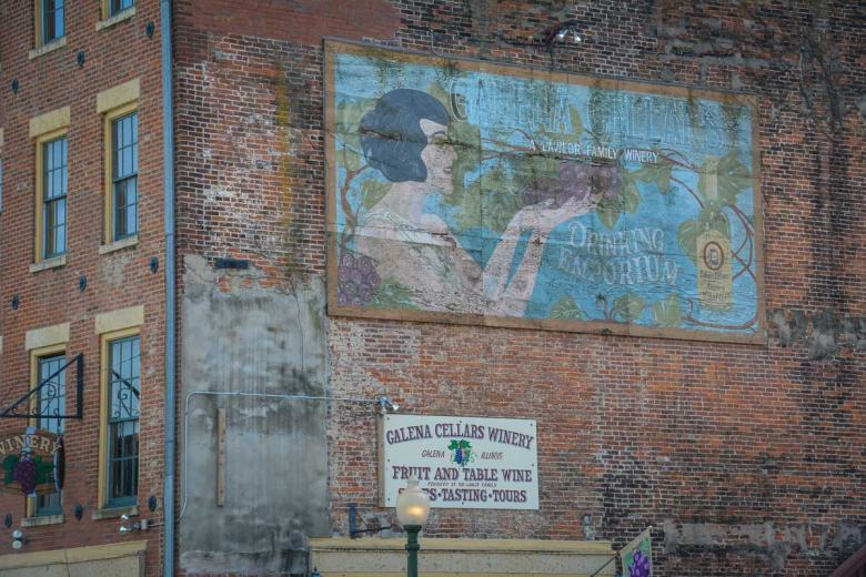 Faded billboards on red brick walls - this is how Galena keeps the spirit of days gone by alive.