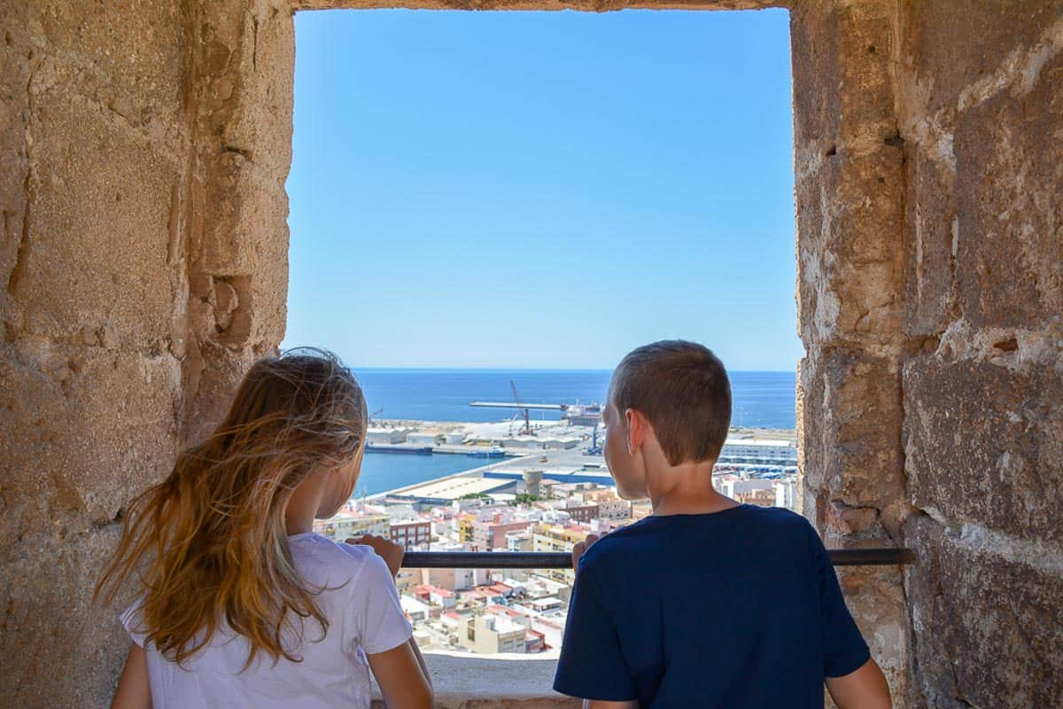 Exploring the castle in the early summer heat is a challenge for all of us. Luckily, there is a nice breeze coming up the mountain from the sea.