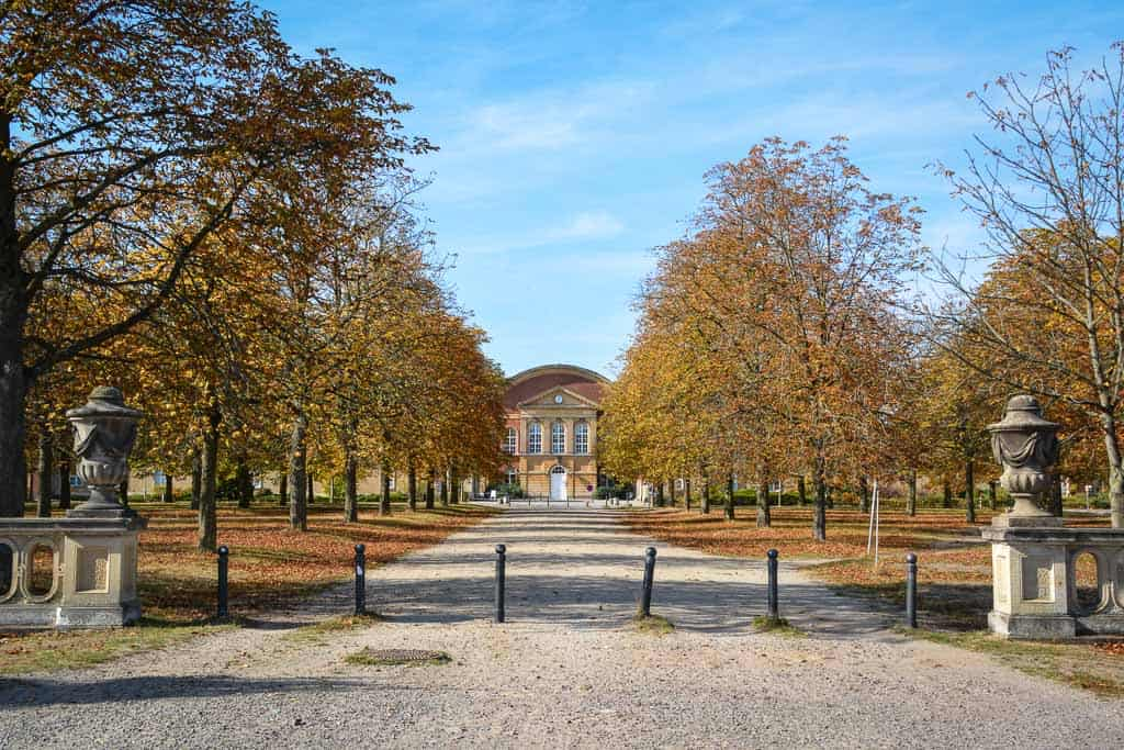 This October has been Germany's golden month, with clear sunny skies and lots of glowing autumn foliage. This part of the palace ensemble of New Palace is now used by Potsdam University.