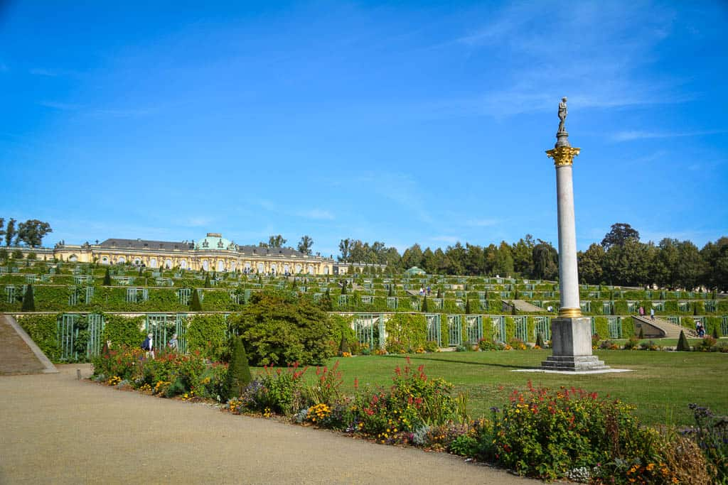 Sanssouci's Pleasure Garden is made up of a terraced vineyard, rows of blooming flower beds, and many corners to just sit and admire the views.