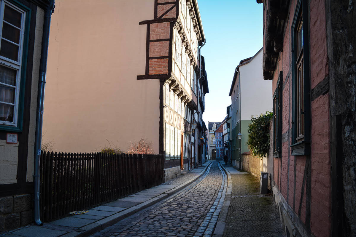 Narrow roads like this make the town centre of Quedlinburg almost traffic-free.