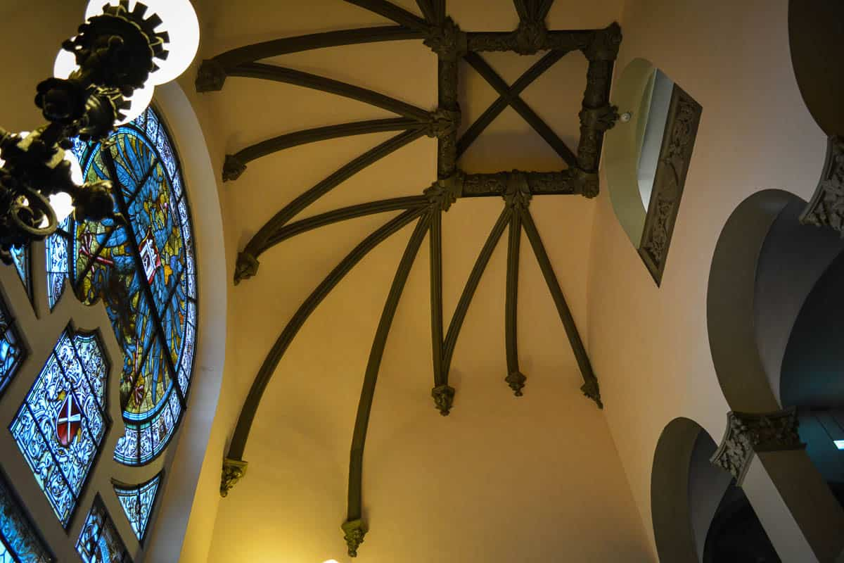 Make sure you have a look inside the town hall to check out the pretty staircase and the stained glass window!