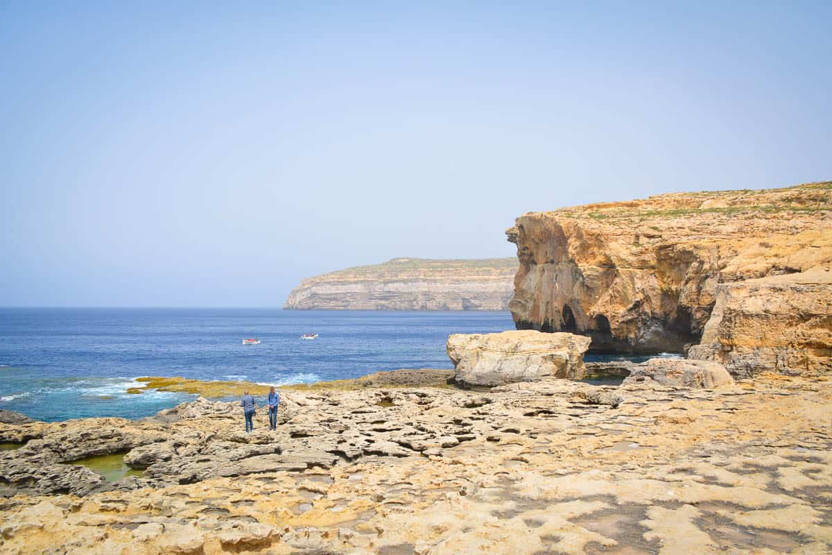 This is the location of one of the best known attractions in Malta, now gone for good: The Azure Window. It is quite remarkable that such a big rock formation can disappear from one day to the next.