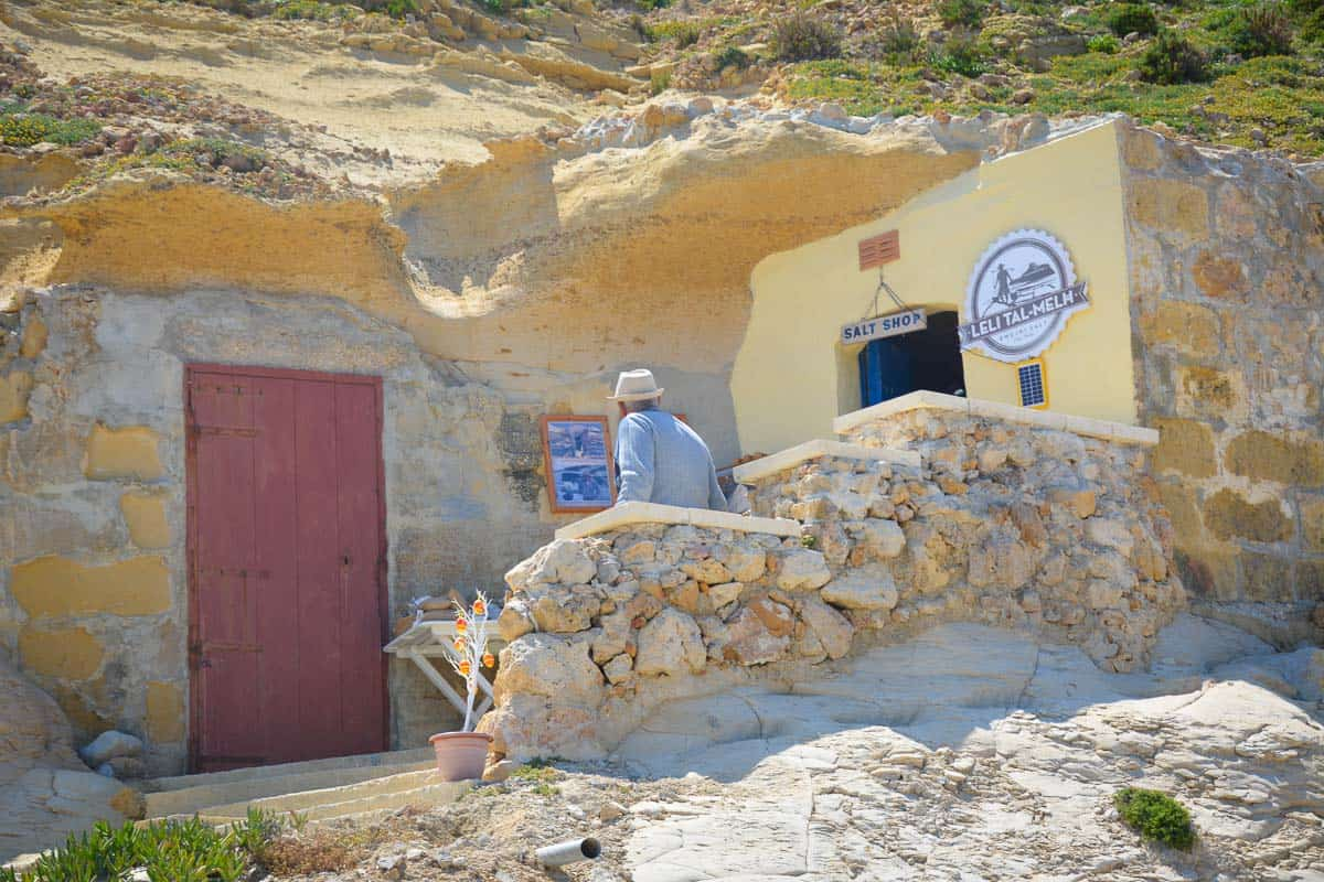 A salt shop dug into the soft limestone of Marsalforn in Gozo. Salt has been harvested in this area for centuries.