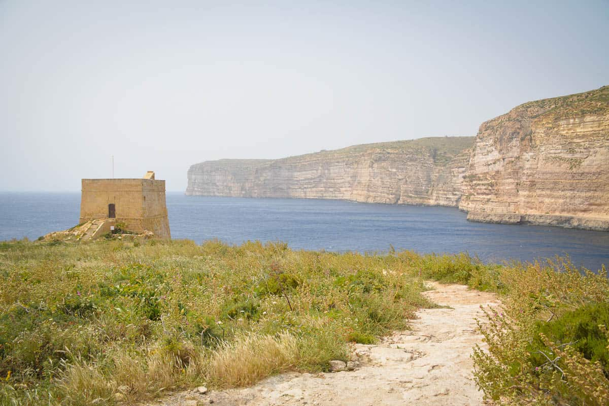 The watchtower of Xlendi is a nice destination for a little walk around the bay. You cannot access the tower but on the other side are some more salt pans to discover.