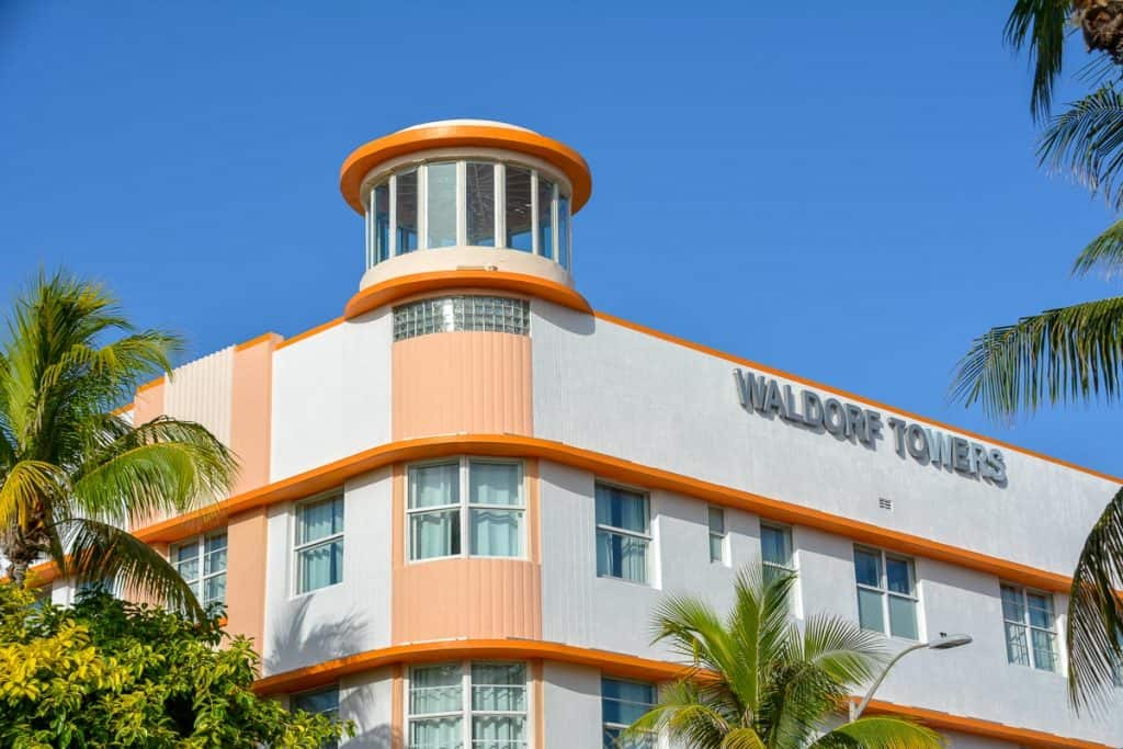 South Beach in Miami is famous for its art deco buildings, many of which are hotels just like the beautiful Waldorf Towers Hotel on Ocean Drive.